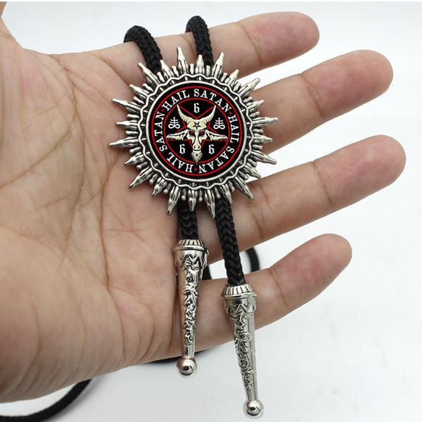 Боло-0028 новое прибытие Бафомет перевернутый пентаграмма Козья голова Западный Боло галстук круглый стеклянный купол Бафомет ювелирные изделия сатанизм ожерелье