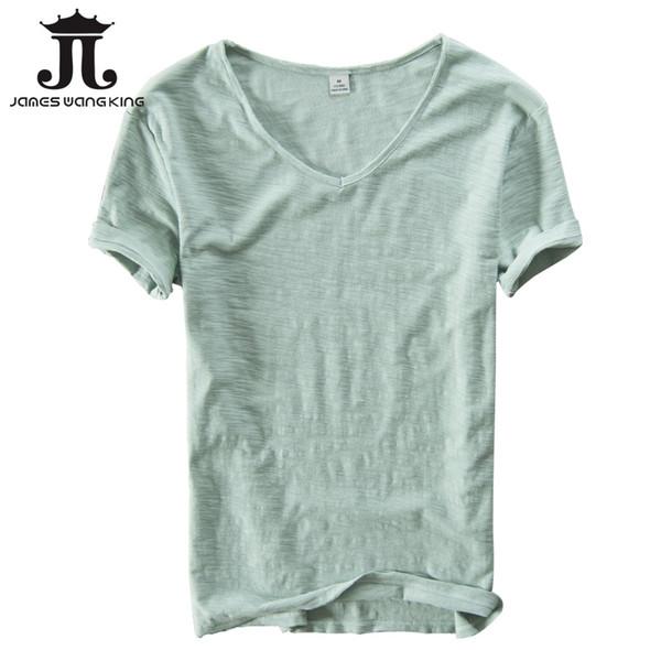 Maglietta estiva da uomo in lino coon manica corta con scollo a V topstee traspirante Confortevole slim sottile t-shirt uomo abbigliamento taglia XXL