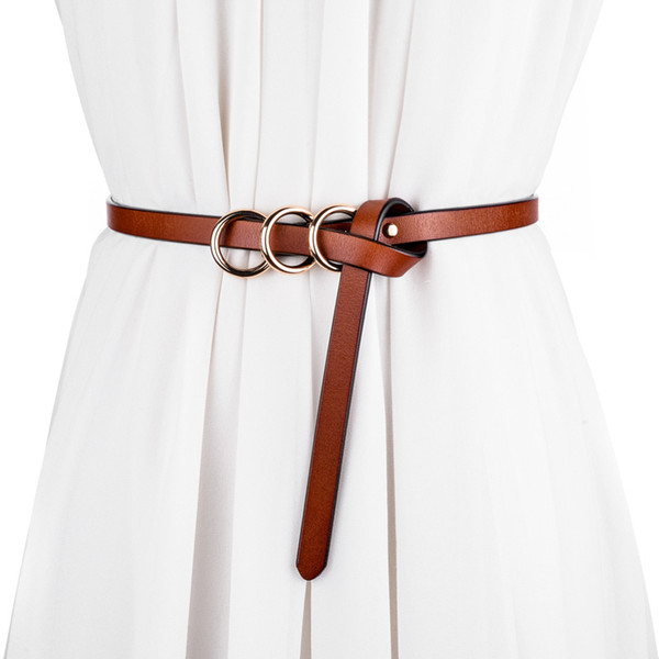 Kadın kemer için 2018 rahat kemerler kadın moda metal Toka dekorasyon elbise cowskin zincir kemer deri kemerler ceinture femme