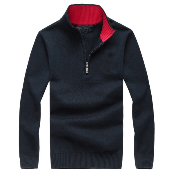 Men Luxury Knitted Polo Shirt 5 Colors Branded Mens Polos Zipper Design Embroidered Long Sleeve Jumpers for Autumn