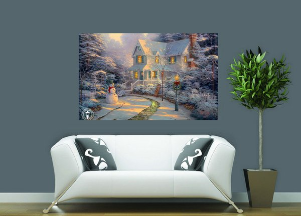 Natural Scenery Thomas Kinkade Landscape Oil Painting Reproduction High Quality Giclee Print on Canvas Modern Home Art Decor TK0071
