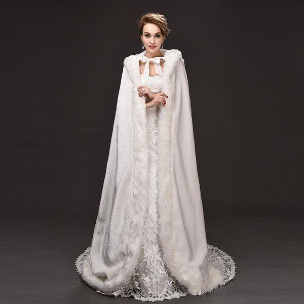 "Cheap Winter War Faux Fur Bridal Cloak Warm Wraps Hooded Trim Floor Length Perfect Abaya Jacket for Wedding Cape Wraps Jacket 1.5M 58"""
