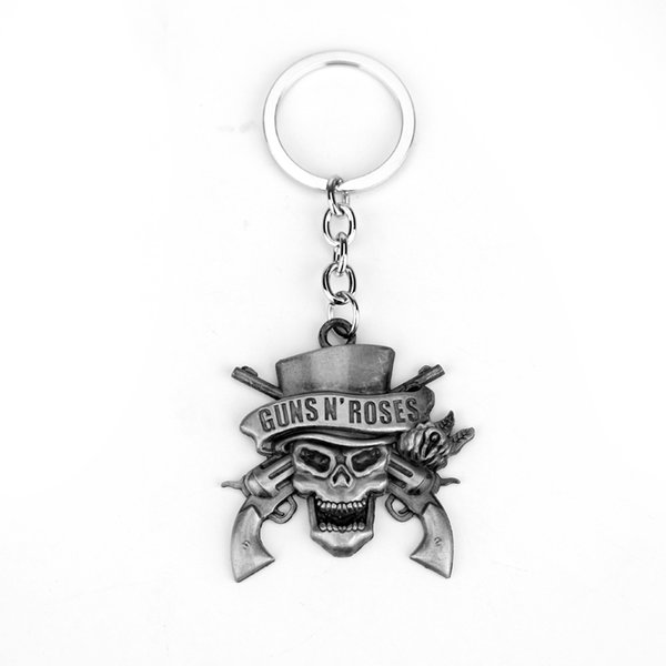 MQCHUN New Jewelry Hot Band Guns N 'Roses Keychain Model Alloy Key Chain Fashion Women Men Skelton For GnR Band Fans Key Chain