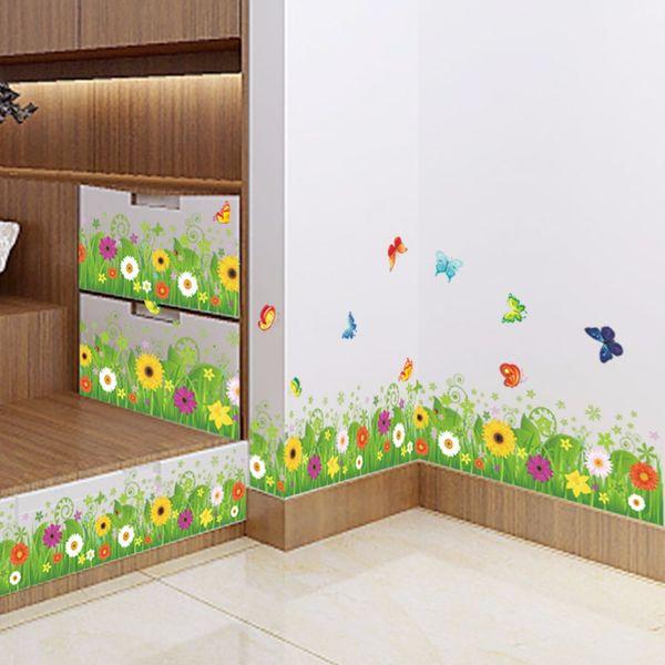 flower green grass butterfly baseboard Wall Stickers Skirting living Room bedroom Bathroom Kitchen bathroom nursery balcony
