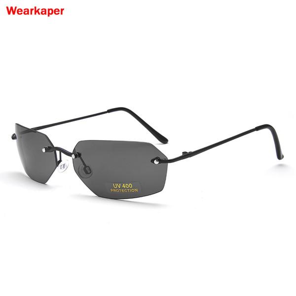 WEARKAPER Alliage sans monture lunettes de soleil polarisées Hommes Classique Matrix Morpheus Femmes Lunettes de soleil Steampunk Film Protection UV400