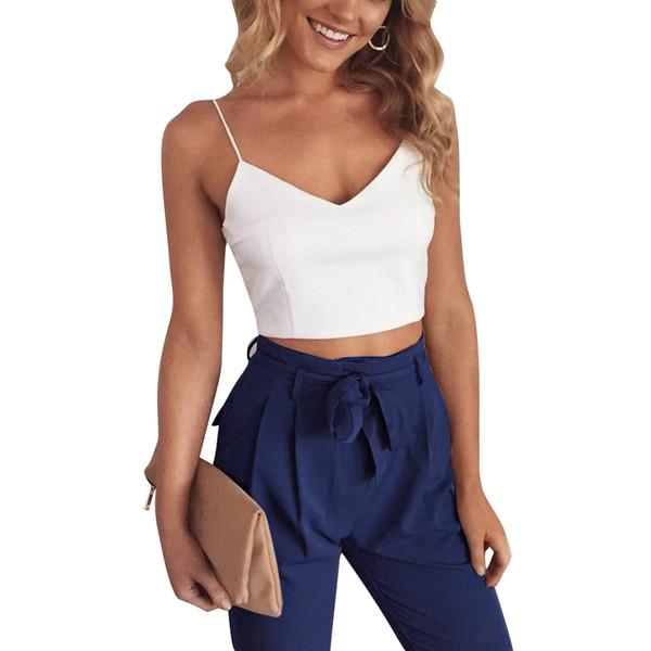 Sexy Women Two Piece Set Summer Crop Top Femme V Neck Vest Slim Long Pants Solid Suits Outfits Black/Khaki Ensemble Femme 2018