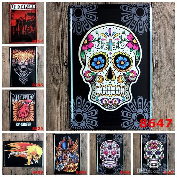 New Creative Linkin Park Skull Head No Frame Tins Poster Vintage Tin Signs Metal Art Iron Paintings Party Bar Decoration 3 99ljt aa