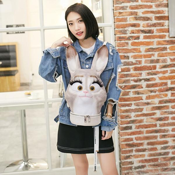 Fashion lovely 3D rabbit head designer lady backpack bags women PU backpacks practical shoulder chest bag