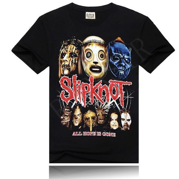 Tee Shirt Printing O-Neck Short Slipknot Hip Hop Rock Band Design Cotton Short Sleeve T Shirt For Men Graphic T Shirts For Men