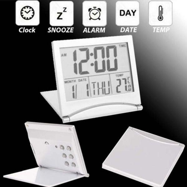 Novelty Alarm Clock Folding LCD Digital Weather Station Desk Temperature Travel Alarm Clock for Home Travel Digital Alarm Clock