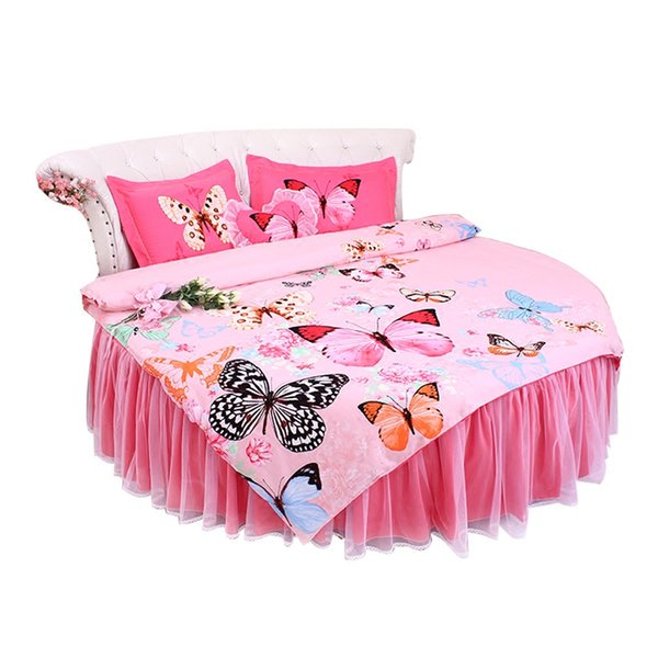sweet Round bed lace pink polka dots duvet cover set lace bow round bed bedding 4pcs set 2m/2.2m/ 2.5m wedding luxury bed large king size