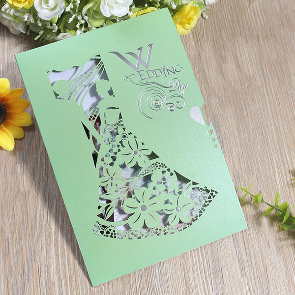 Creative Green Wedding Invitations Card Hollowed Out Design Greeting Cards For Birthday Party Supplies Factory Direct Sale 0 98cf B