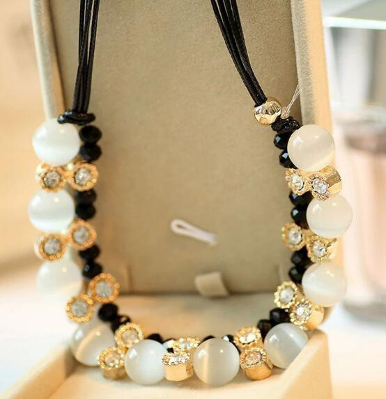 New retro simple fashion cateye necklace black leather rope short style collarbone chain fashion classic delicate