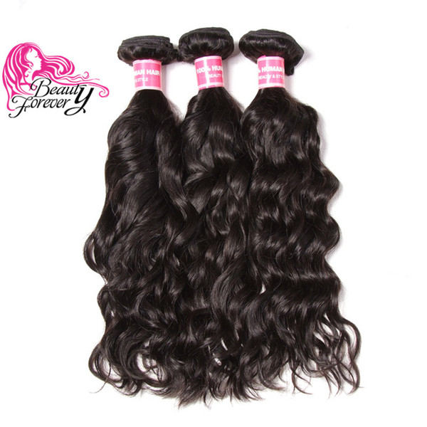 Beauty Forever Natural Wave Indian Hair Weave Bundles 3 Pieces 100% Human Hair Extension Natural Color Hair Wefts Wholesale Bulk Cheap Remy