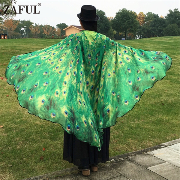 ZAFUL Wholesale Fashion Creative Peacock Feather Wing Cape Pashmina Women Scarves Print Wraps Female Scarves And Shawls Gifts