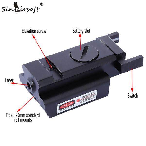 SINAIRSOFT Tactical Red Dot Sight Scope Weaver Rail Per Laser Cannocchiali da mira 20mm Mount Range per M1911 M9 G17,19,20,21,22,23,30,31,32