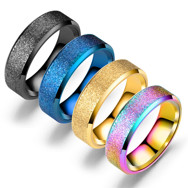 Beichong Fashion Charm Jewelry Grind Gold /black Arenaceous Ring Men Stainless Steel Rings For Men and Women party gift