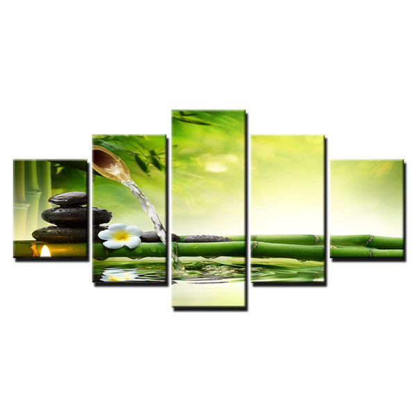 Canvas HD Prints Poster Home Decor Wall Art Framework 5 Pieces Spring Stone Bamboo Flowing Water Painting Candle Flower Pictures