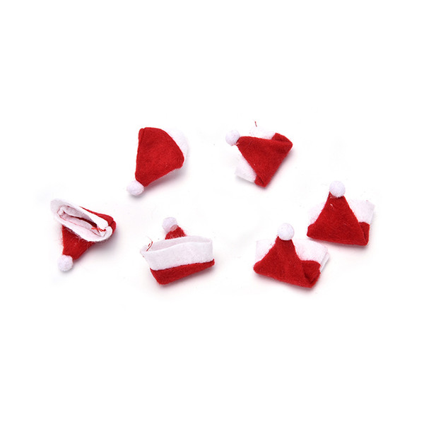 HENGHOME 30 PCS Christmas Santa Hat cup hat 6cm mini santa Cover Christmas Gift Candy Cover Decoration