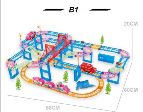 New railway toys of qumitoys train track electric car Baby educational plastic toys intelligence toys