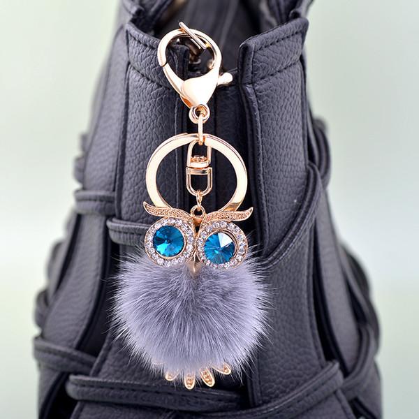 Crystal Rhinestone Owl Key Chain Fur Fluffy Pompon Keychain Bag Charm Keyring Artificial Fur Pompon Ball Keyring