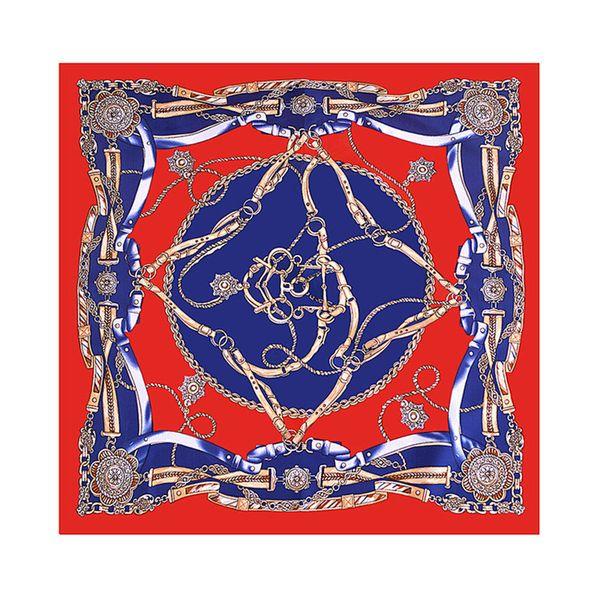 New Twill Silk Scarf Women European Style Chain Print Square Scarves Spring Summer Shawls For Ladies Fashion Headband Bandana 70cm*70cm