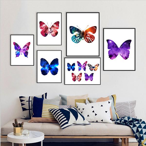 COLORFULBOY Nordic Minimalismus Aquarell Schmetterling Leinwand Malerei Wand Kunstdruck Wandbilder Für Wohnzimmer Decor Kein Rahmen
