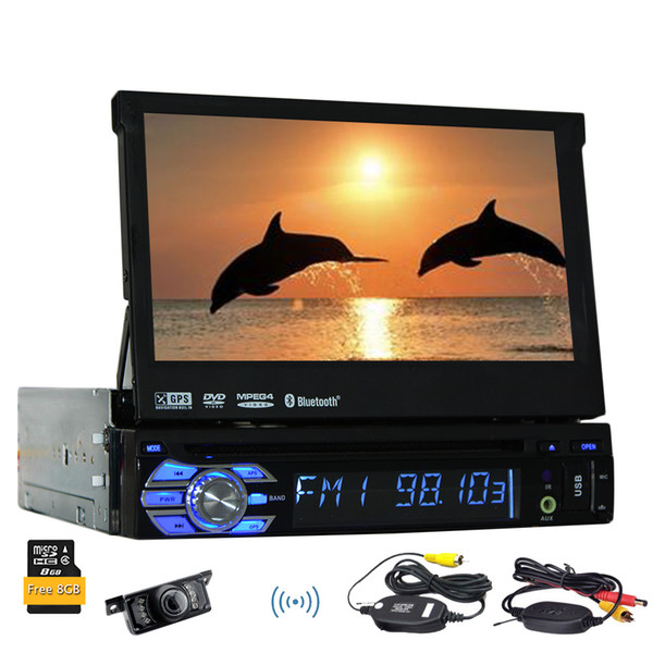 Wireless camera 8GB GPS map card Car CD DVD player HD digital 7'' touchscreen Detachable Panel gps car dvd stereo navigator auto radio