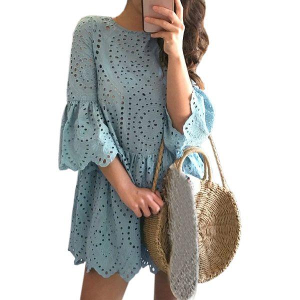 Hollow Out Lace Kawaii Girls Flare Sleeve Mini Dresses Women Casual O-neck A-Line Dress Ruffles Summer Sundress Plus Size GV200
