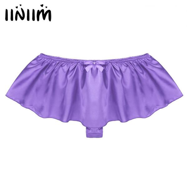 Iiniim Lingerie Sexy Calcinha Gay para Homens Macio Cetim Brilhante Sissy contornou com Bowknot Tangas Cordas Homme Underwear Cuecas