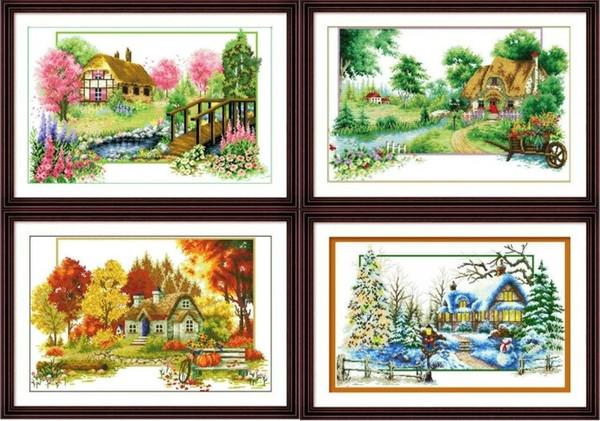 11CT Handarbeiten 100% gedruckt unvollendete Kreuzstich szenische Muster Typen Sets Stickerei Kits-4 Jahreszeiten Cottages