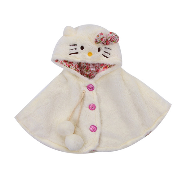 New Lovely Baby Girls Cat Hooded Cartoon Cloak Poncho Jacket Outwear Kids Warm Coat Clothes Cute Winter
