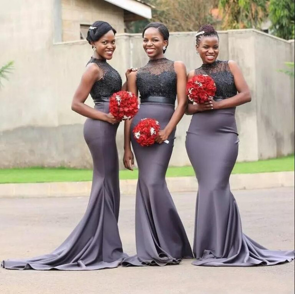 Gray African Lace Bridesmaid Dress Long 2018 High Neck Lace Mermaid Sleeveless Appliqued Custom Made Maid Of Honor Gowns For Nigerian