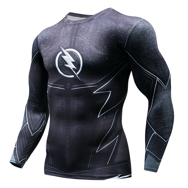Superhero series 3D Printed The Flash T-shirt Gym Fitness Compression Shirt Crossfit Long Sleeve Slim Fit Top Tees Running Shirt