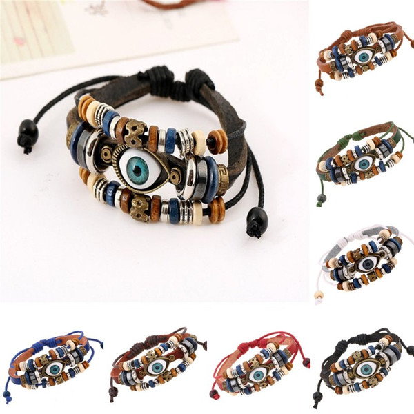 Vintage Blue Evil Eye Multilayer Rope Bracelet Women Men Beads Brown Handmade Leather Bracelet Turkish Adjustable Wristband Jewelry B907S F