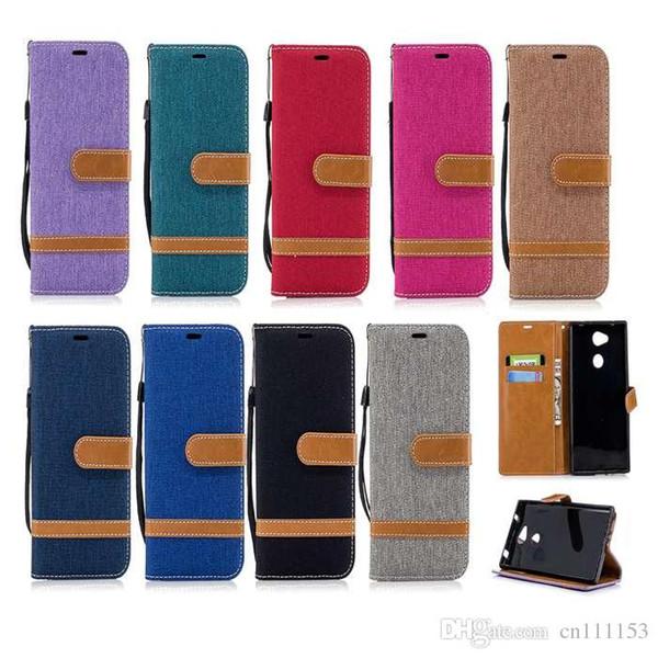 Casos celulares sony xperia l2 xa2 ultra xa1 além de xz1 xz1 compacto premium xzs carteira flip protetora shell de couro denim acessórios do telefone