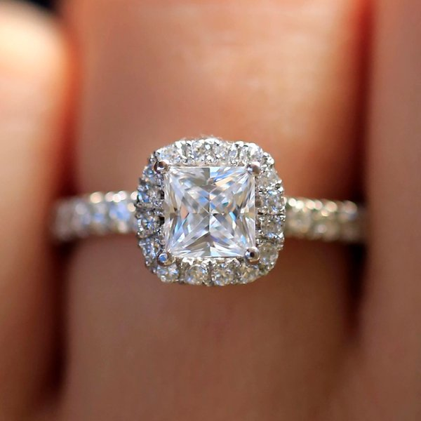 7.0mm 2.0ct Carat Elegant DEF Color Princess Halo Engagement Wedding Moissanite Diamond Ring For Women Real 14k 585 White Gold S923