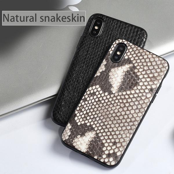 Funda de teléfono todo incluido natural de piel de pitón para iPhone X XS XSmax XR 6 7 8 8 plus Funda protectora de moda de color sólido