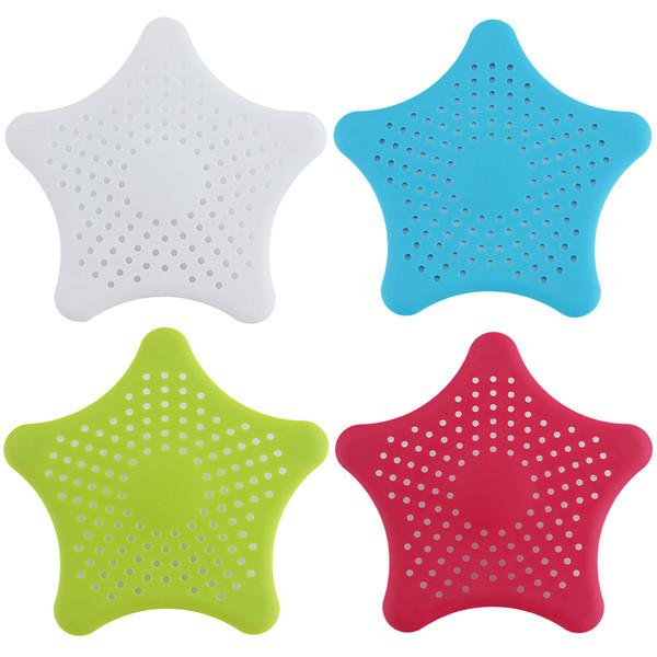Starfish Hair Catcher, Rubber Drain Hair Stopper Star Design Home Living Floor Bath Catcher Sink Strainer Sewer Filter Shower Cover Kitchen