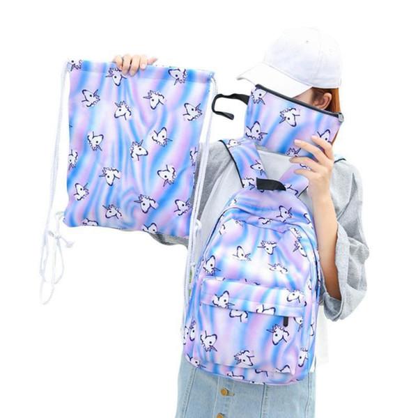 Women Backpack space unicorn backpack pattern oxford women bag mochila schoolbags for teenage girls Hot Sale bag for Women 3Sets Y18110107