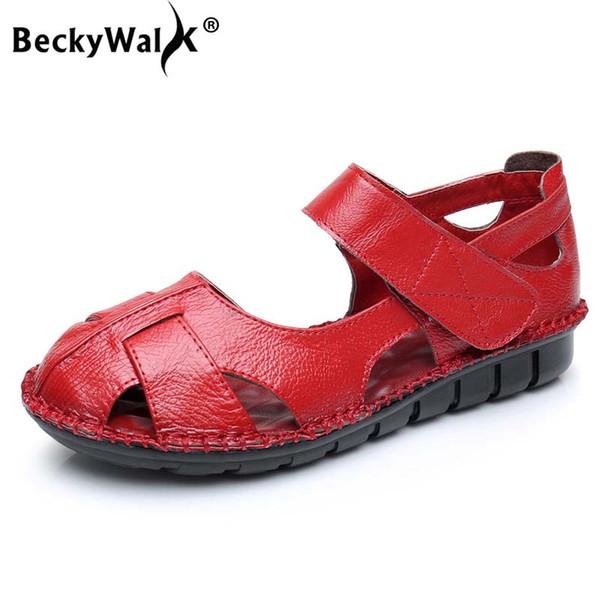 BeckyWalk İnek Deri Kadın Sandalet Yaz Ayakkabı Kadın Anne için Rahat Kapalı Toe Düz Sandalet Sandalias Mujer WSH2992