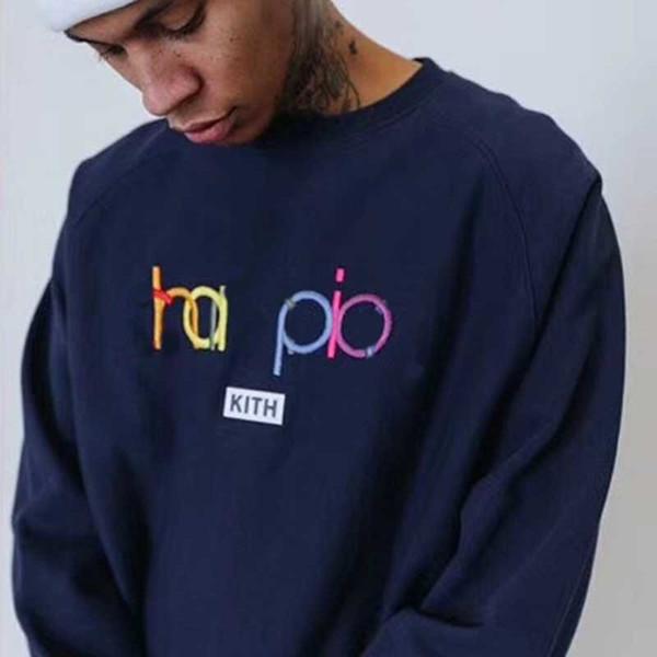 18FW CHAM-KITH co-branded maglione Retro Street Fashion ricamo logo casuale uomini e donne coppie girocollo maglione HFSSWY063