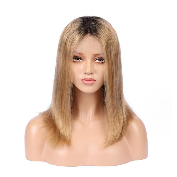 Virgin Mongolian Ombre Lace Front Bob Wigs #1B 27 Honey Blonde Two Tone Colored Short Bob Glueless Full Lace Wigs 130% Density