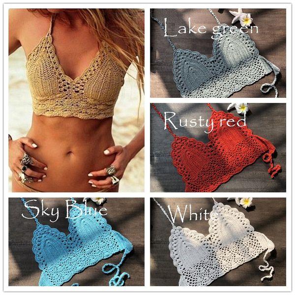 9Color Sexy Womens Halter Neck Crop Top V Knit Crochet Cami Summer Fashion Bikini Lace Crochet Hollow Out Bra