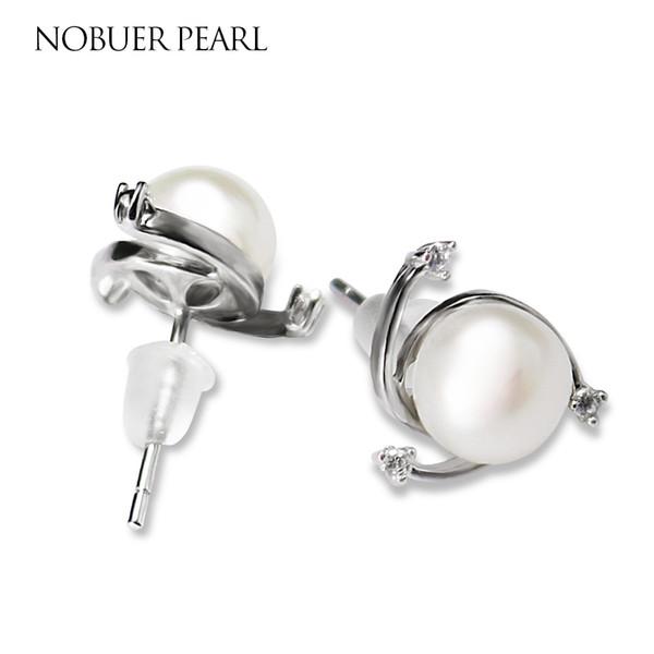 Nobuer 925 Joyas de plata esterlina hechas a mano de perlas de agua dulce para las mujeres blanco púrpura naranja perlas negras