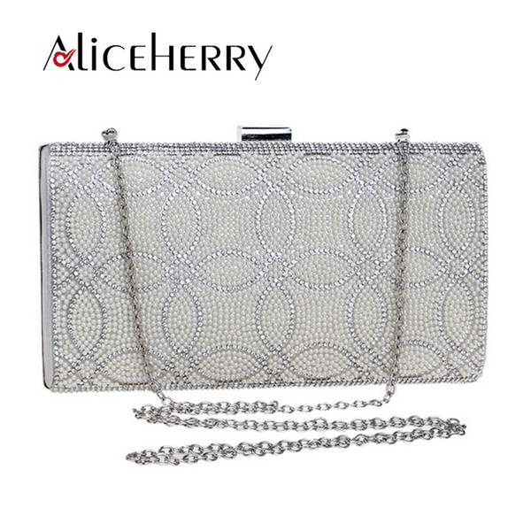 Female Clutch Box Crossbody Bag Luxury Handbags Diamond Evening Bag Pearl Banquet Party Wedding Purses Gold Silver