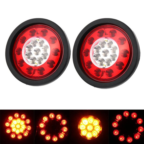 2 Pcs 19 LEDs Car Rear Tail Lights Stop Brake Taillight Round Rubber Ring Lamp for Truck Trailer Vehicles 12V/24V HEHEMM