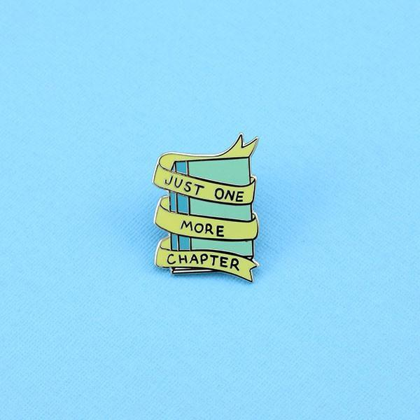 Gold Just One More Chapter Hard Enamel Book Reading Lapel Pin a Punky Pins Design Products