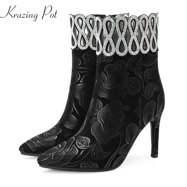 Krazing Pot 2018 kid suede pointed toe print leather crystal fasteners banquet nightclub sexy big size 43 42 41 ankle boots L91