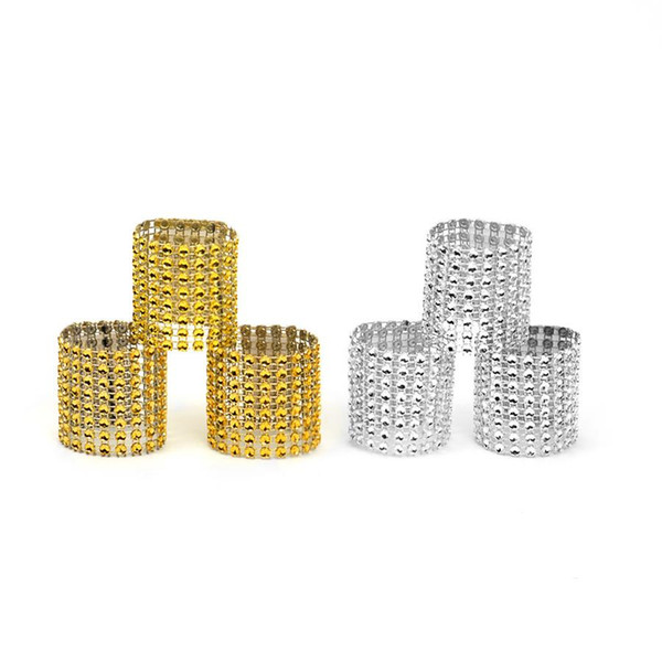 Plastic Napkin Rings Hotel Wedding Supplies Chair Sash Diamond Mesh Wrap Napkin Rings for Party Home Decoration